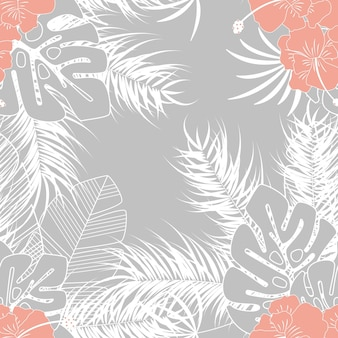 Padrão tropical transparente de verão com folhas de palmeira de monstera e plantas em fundo cinza