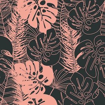 Padrão tropical transparente de verão com folhas de palmeira de monstera e plantas em fundo escuro