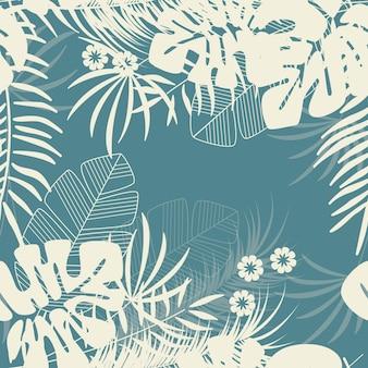 Padrão tropical transparente de verão com folhas de palmeira de monstera e plantas sobre fundo azul