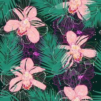 Padrão tropical vetorial com orquídeas cor de rosa e folhas de palmeira