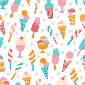 Padrão uniforme com diferentes sorvetes coloridos em um fundo branco