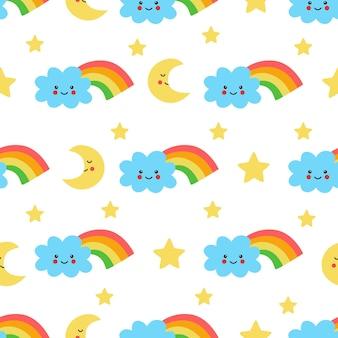 Padrão uniforme com nuvem de arco-íris fofa e estrelas