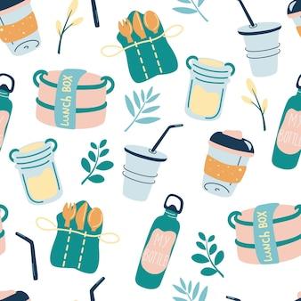 Padrão uniforme com produtos reutilizáveis. conceito de papel de parede ecológico