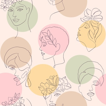 Padrão uniforme com rostos de mulheres e círculos de cores