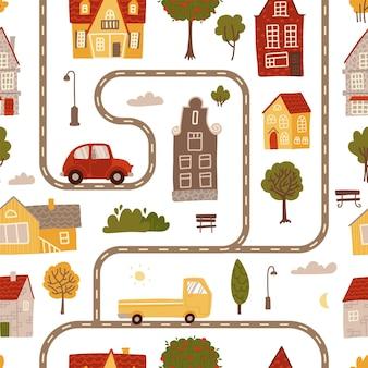 Padrão uniforme com ruas e estradas, casas e carros