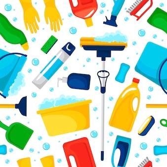 Padrão uniforme com suprimentos domésticos e produtos de limpeza