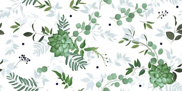 Padrão uniforme com vegetação elegante e suculenta