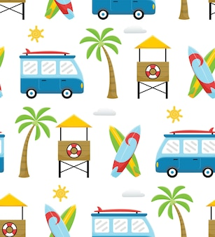 Padrão uniforme de desenho animado com tema de férias na praia