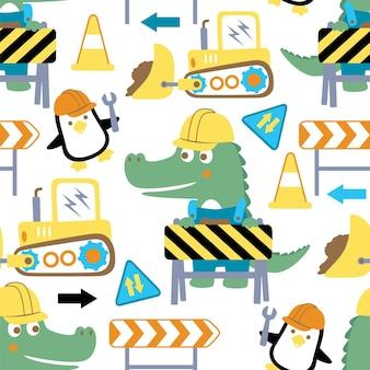 Padrão uniforme de desenho animado de construção com crocodilo e pinguim
