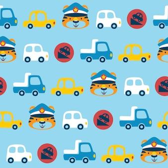 Padrão uniforme de desenho de veículos com policial de trânsito engraçado
