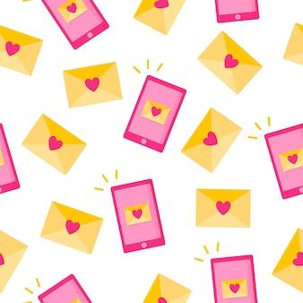 Padrão uniforme de mensagem de amor em envelope e telefone