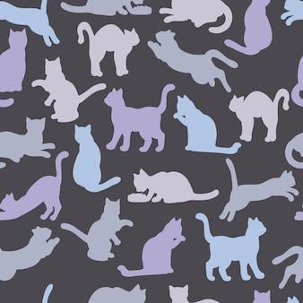 Padrão uniforme de silhuetas multicoloridas de gatos
