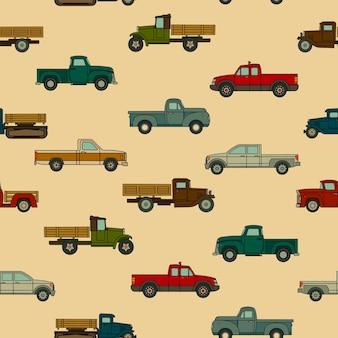 Padrão uniforme de vários modelos desenhados de carros americanos