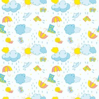 Padrão uniforme em nuvens temáticas infantis com gotas de chuva, o sol e um barco