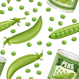 Padrão uniforme. ervilhas em lata de alumínio com vagem. alimentos enlatados com logotipo de ervilhas. produto para supermercado e loja. ilustração em fundo branco.