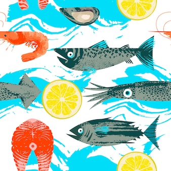 Padrão uniforme. ilustração vetorial no tema de frutos do mar. vários peixes, lulas, camarões e rodelas de limão. ilustração com textura desenhada à mão de vetor exclusivo.
