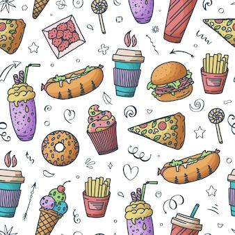 Padrão uniforme. ilustração vintage com elementos de doodle de fast food