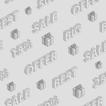 Padrão uniforme nas vendas e descontos com inscrições isométricas e caixas de presente, em cores cinza