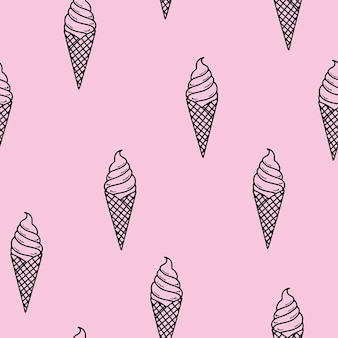Padrão uniforme. sorvete linear em um elegante cone de waffle. menu de verão. design mínimo