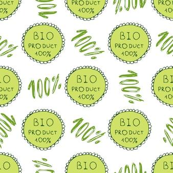 Padrão verde biológico. fundo ecologicamente transparente. contexto natural orgânico de 100%. textura desenhada em mão Vetor Premium