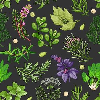 Padrão verde com ervas no escuro