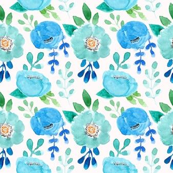 Padrão verde e azul com flor aquarela