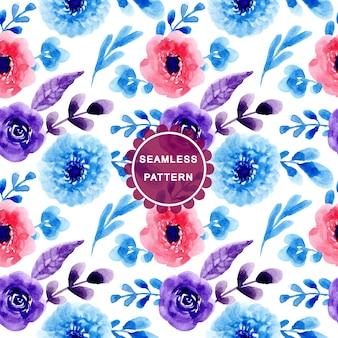 Padrão vermelho azul com flor aquarela