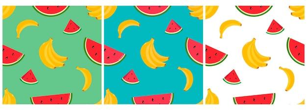 Padrão vetorial com pedaços brilhantes de melancia e frutas tropicais de banana