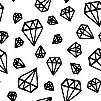 Padrão vetorial desenhado a mão preto e branco de diamante