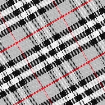 Padrão vetorial escocês tartan 1, preto, branco, cinza, vermelho