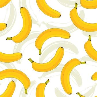 Padrão vetorial sem costura com bananas amarelas. padrão de repetição de vetor de banana. impressão saborosa para design de tecido ou tecido de cozinha