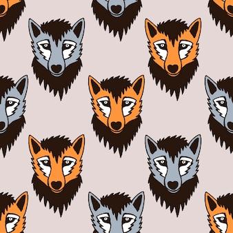 Padrão vetorial sem costura com lobo e raposa. personagens de desenho animado