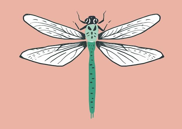 Padrão vintage de estêncil de inseto libélula