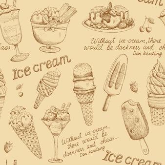 Padrão vintage de sorvete