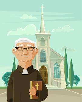 Padre católico e igreja.
