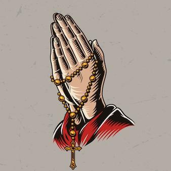Padre orando mãos com contas de rosário