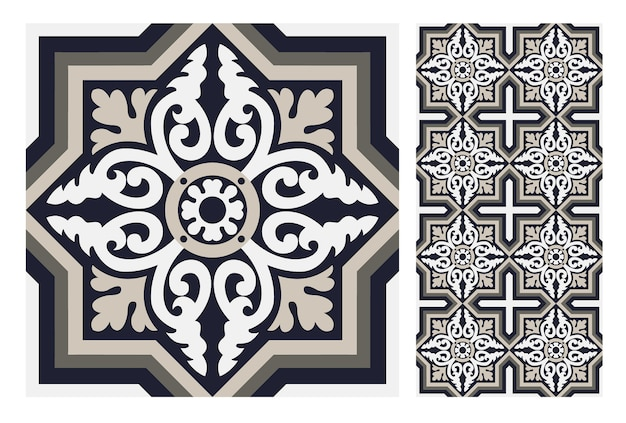 Padrões antigos de azulejos antigos design sem costura