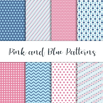 Padrões bonitos rosa e azuis