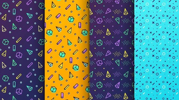Padrões coloridos de memphis coloridos disponíveis no painel swatches
