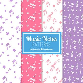 Padrões coloridos de notas musicais