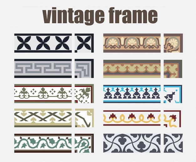 Padrões de azulejos de quadro vintage