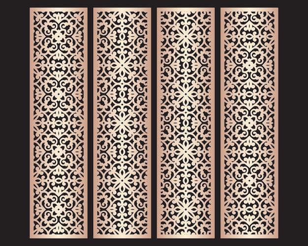 Padrões de bordas de renda decorativa cortados a laser. conjunto de modelos de marcadores. painel de fretwork do gabinete. tela de metal lasercut. escultura em madeira.