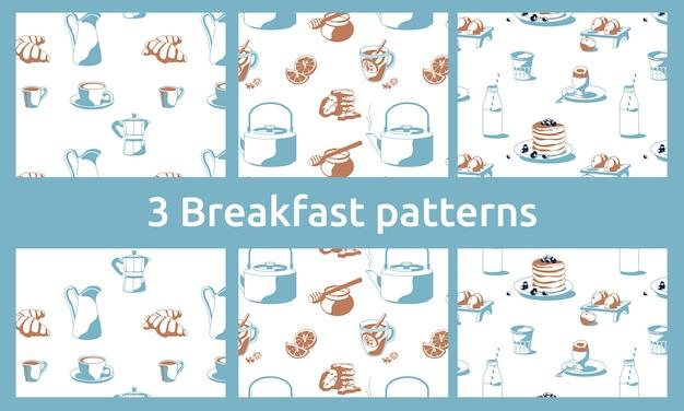 Padrões de café da manhã com café, chá, mel, croissants, panquecas, leite com limão, biscoitos, fundo branco isolado de biscoitos