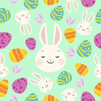 Padrões de coelho e ovo de páscoa coloridos