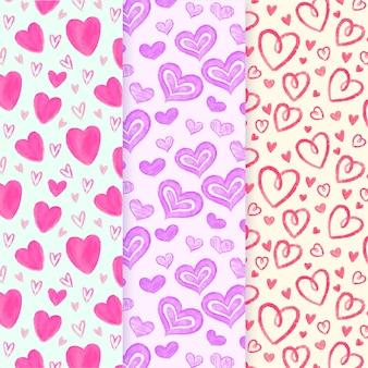 Padrões de coração bonito mão desenhada