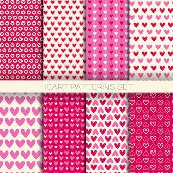 Padrões de coração definir planos de fundo sem emenda para dia dos namorados