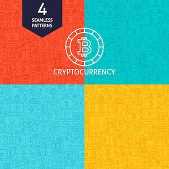 Padrões de criptomoeda de linha. quatro fundos sem emenda do design do site do vetor. bitcoin finance.