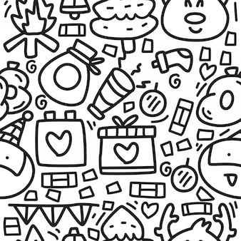 Padrões de design de desenhos animados de doodle de natal