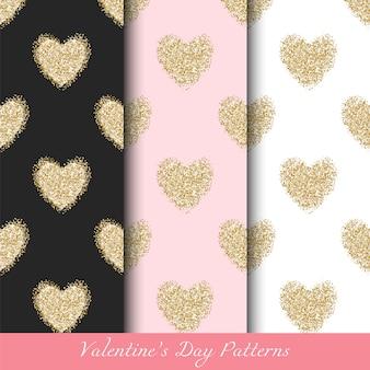 Padrões de dia dos namorados com corações de ouro