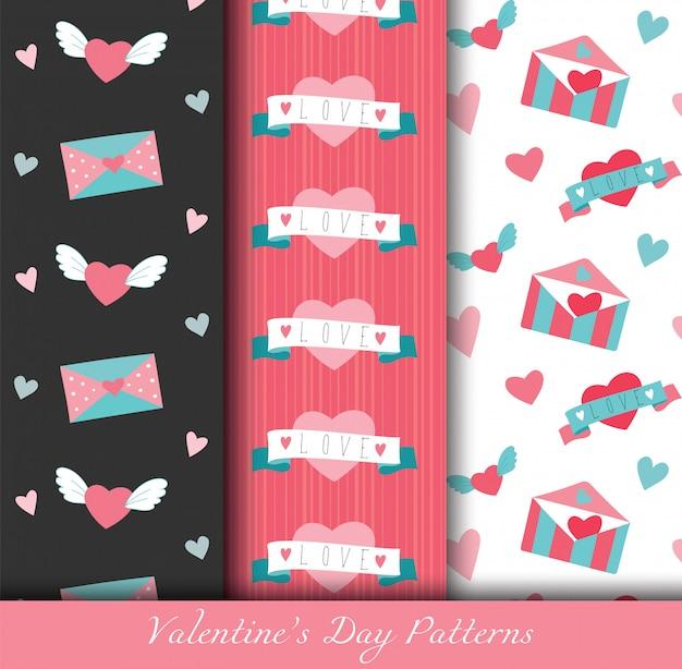 Padrões de dia plana do dia dos namorados conjunto com elementos de mão desenhada